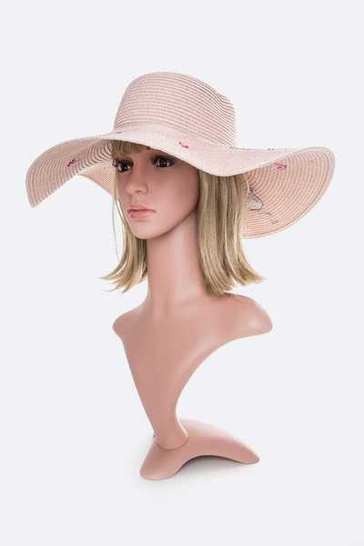 Flamingo Print Straw Floppy Hat