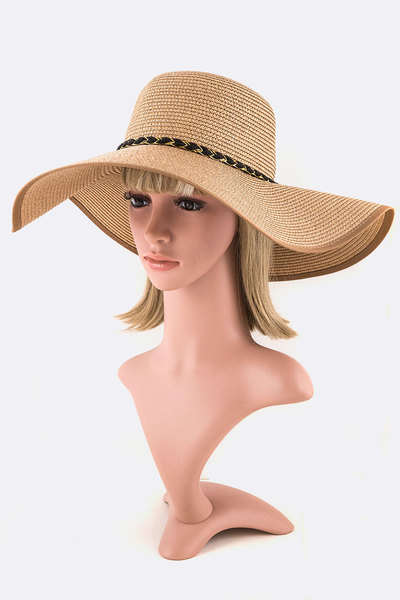 Braided Band Wide Brim Sun Hat