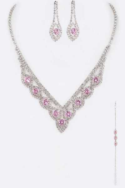 3 PC Rhinestone Formal Necklace Set