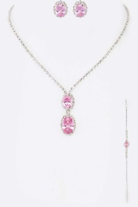 3 PC Rhinestone Necklace Set