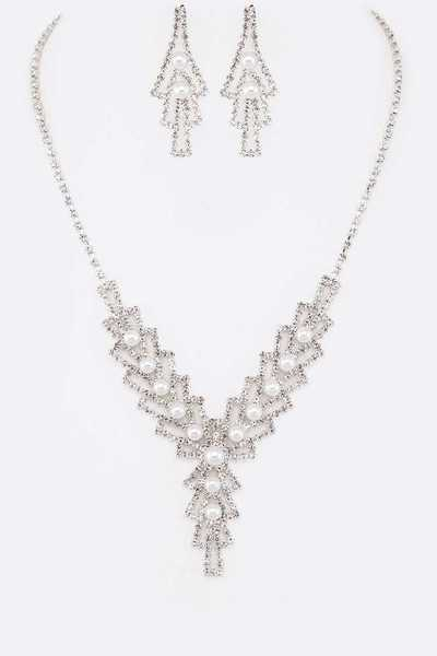 Pearl Accent Rhinestone Bridal Necklace Set