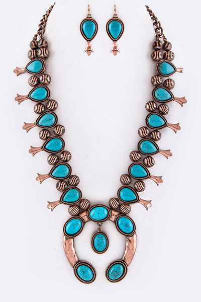 Squash Blossom Genuine Stone Necklace Set