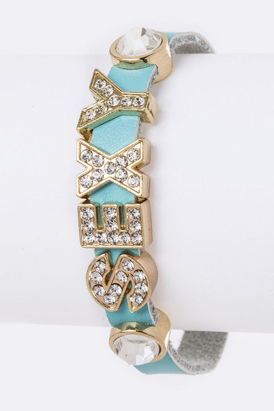 Crystal SEXY Sliders Leather Bracelet