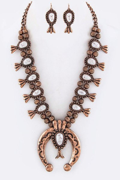 Squash Blossom Statement Necklace Set