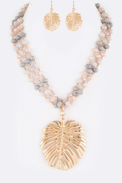 Palm Leaf Pendant Mix Beads Statement Necklace Set