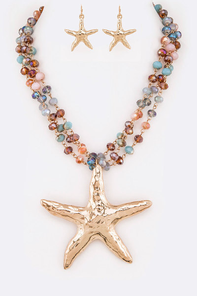 Starfish Pendant Layer Crystal Necklace Set