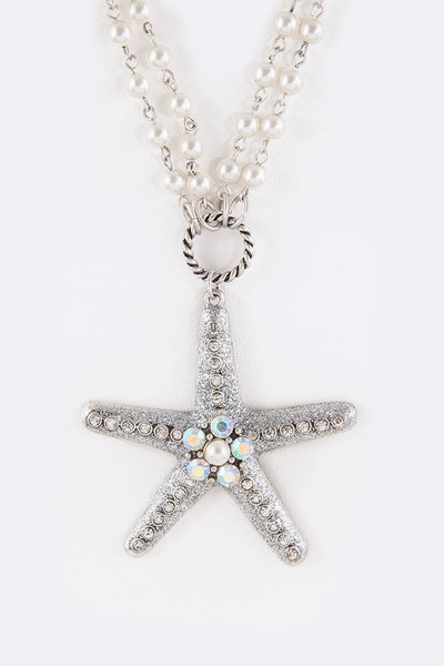 Crystal Glitter Starfish Pearl Station Long Necklace Set