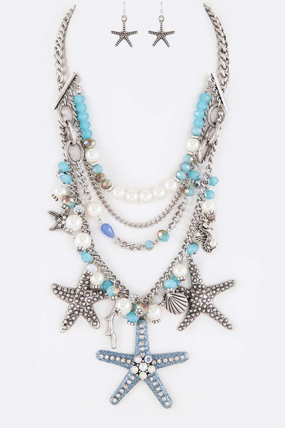 Mix Beads Glitter Starfish Pendant Layer Necklace Set