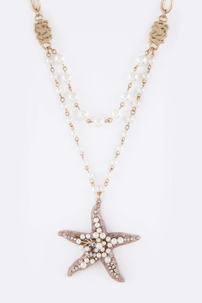 Pearl & Crystal Glitter Starfish Pearl Station Layer Necklace Set