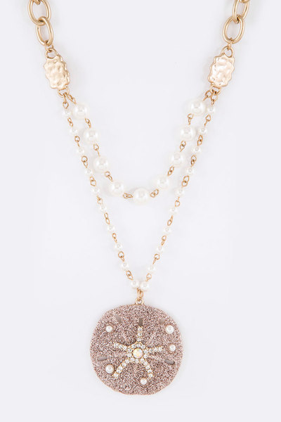 Crystal Glitter Sand Dollar Pearl Station Layer Necklace Set