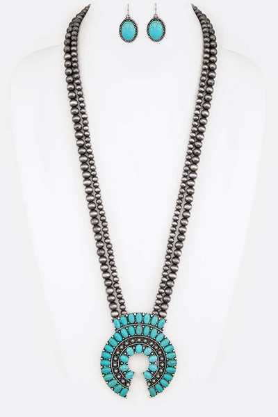 Squash Blossom Navajo Beads Long Necklace Set