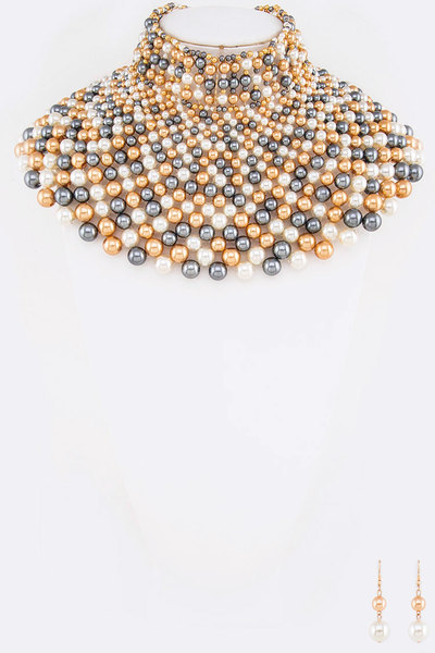 Iconic Pearl Collar Head Turner Statement Necklace Set