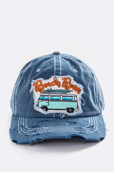 Beach Bum Embroidered Vintage Washed Cap
