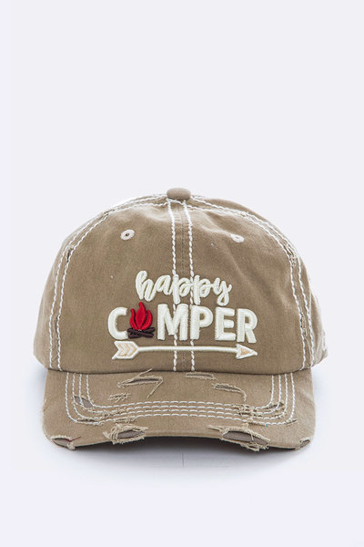 Happy Camper Embroidery Cotton Cap