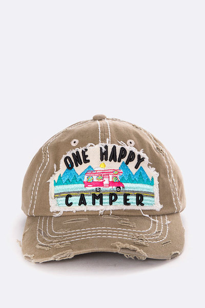 One Happy Camper Vintage Wash Cap