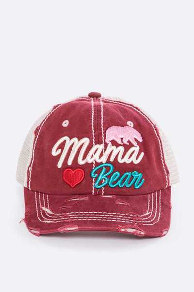 Mama Bear Embroidery Cotton Cap