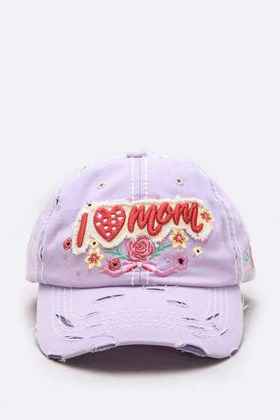I Love Mom Embroidered Vintage Cap