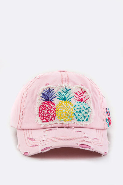 Pineapples Embroidery Cotton Cap