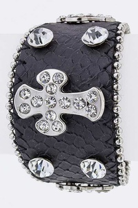 Crystal Cross Leather Cuff
