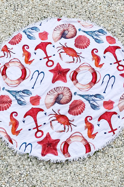 Sea Life Print Convertible Round Terry Towel