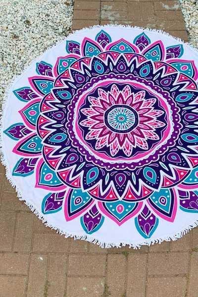 Mandala Iconic Convertible Fringe Terry Round Towel