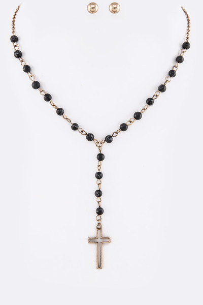 Genuine Stone Beads Cross Pendant Necklace Set