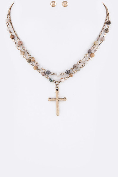 Cross Pendant Genuine Beads Station Layer Necklace Set