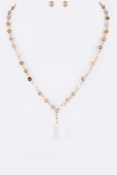 Genuine Stone Beads Station Crystal Teardrop Necklace Set