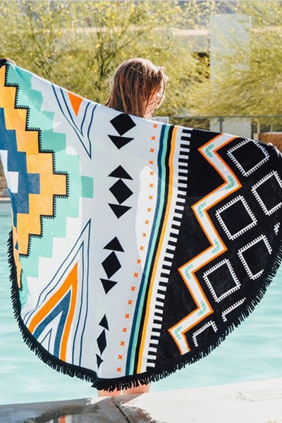 Tribal Print Fringed Convertible Beach Throw