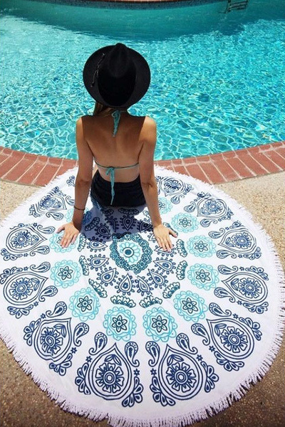 Paisley Printed Fringe Terry Beach Towel