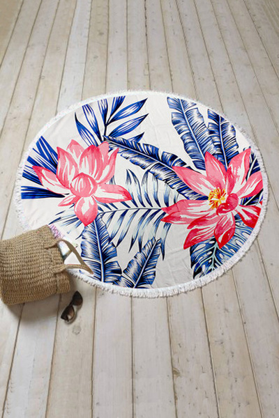 Tropical Floral Terry Round Towel