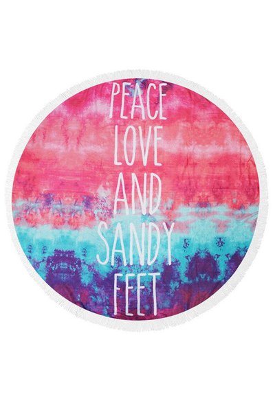PEACE, LOVE & SANDY FEET Terry Beach Towel