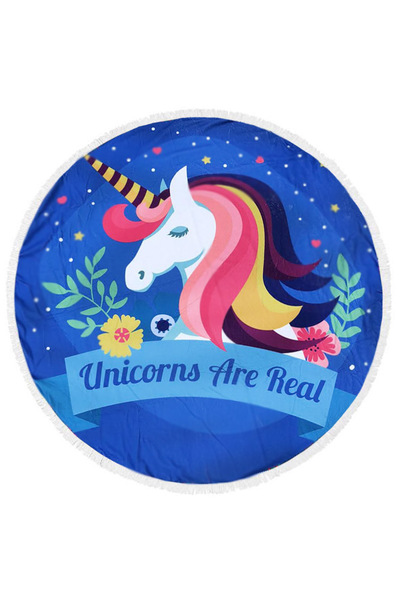 Unicorn Is Real Fringe Terry Round Towel