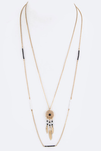Dreamcatcher & Stationed Beads Layer Necklace
