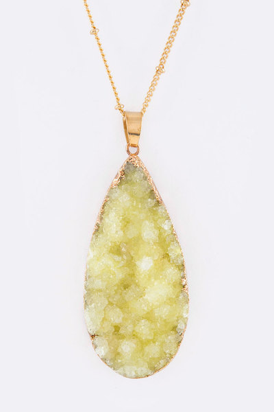 Druzy Teardrop Pendant Necklace