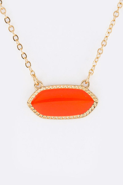 Oval Enamel Pendant Necklace Set