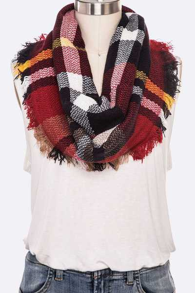 Fringe Plaid Infinity Scarf Set