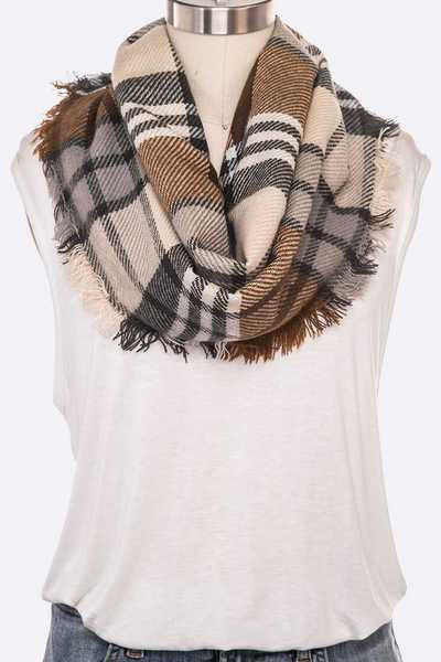 Mix Plaid Infinity Scarf Set