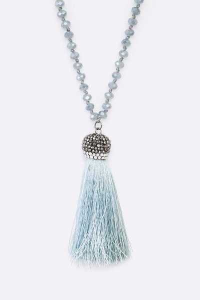 Crystal Hand Knot Tassel Pendant Necklace