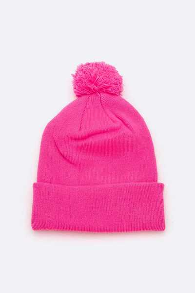 Neon Color PomPom Beanie Set