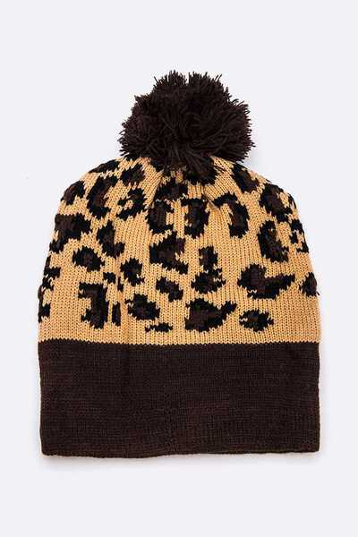 Animal Print PomPom Beanie Set