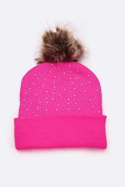 Neon Color Faux Fur Beanie Set