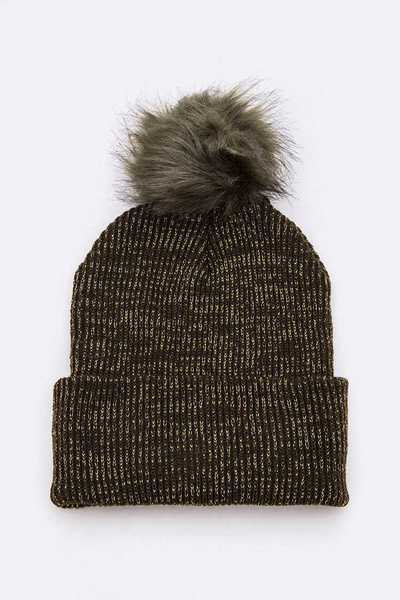 Lurex Faux Fur Pom Beanie Set
