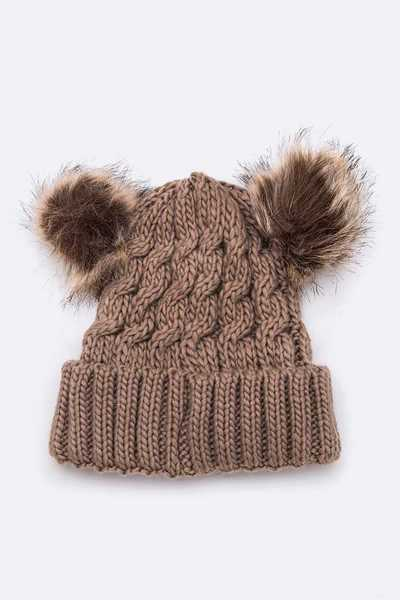 Double PomPom Cable Raised Knit Beanie