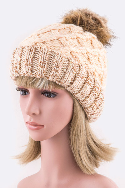 Fleeced Raised Knit PomPom Beanie