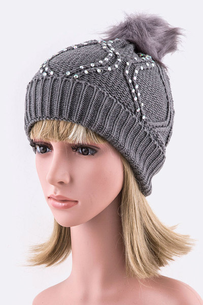 Raised Knit Stone PomPom Beanie