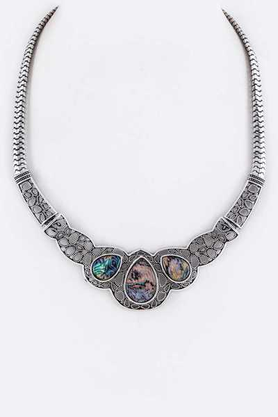 Abalone Pave Collar Necklace