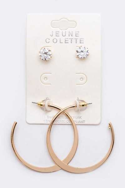CZ Studs And Hoops Set