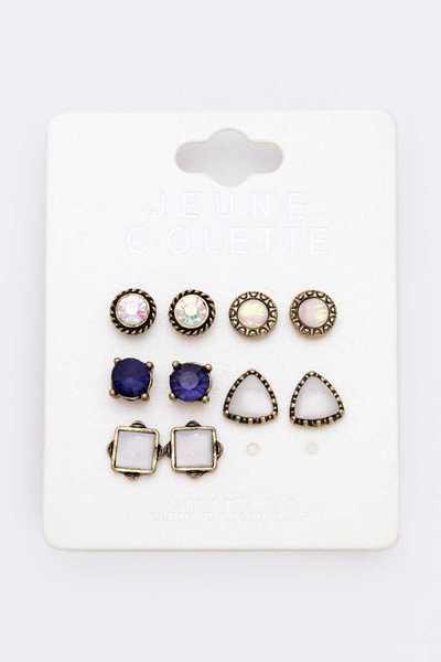 5 Pairs Mix Crystal Stud Earrings Se