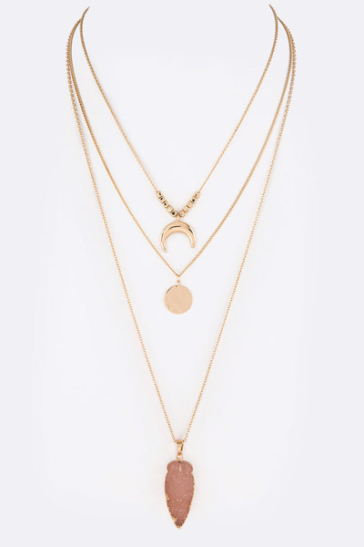 Faux Druzy Metal Horn Iconic Layered Necklace